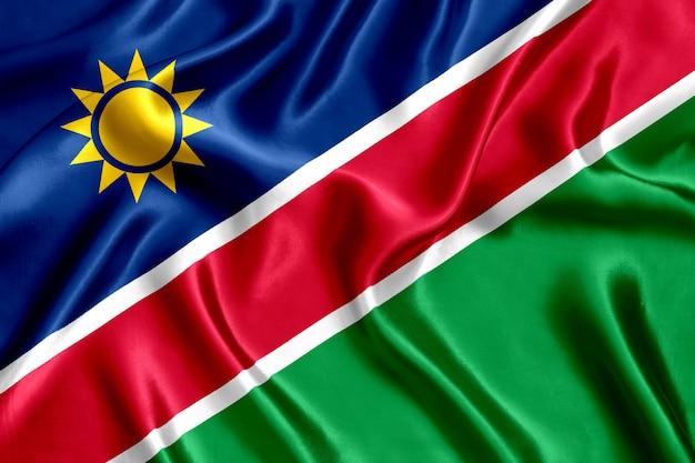 Bandera de primer plano de seda de namibia