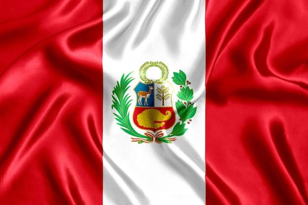 Bandera de primer plano de seda de perú