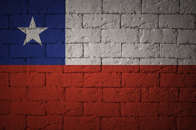 Bandera con proporciones originales. primer plano de la bandera del grunge de chile