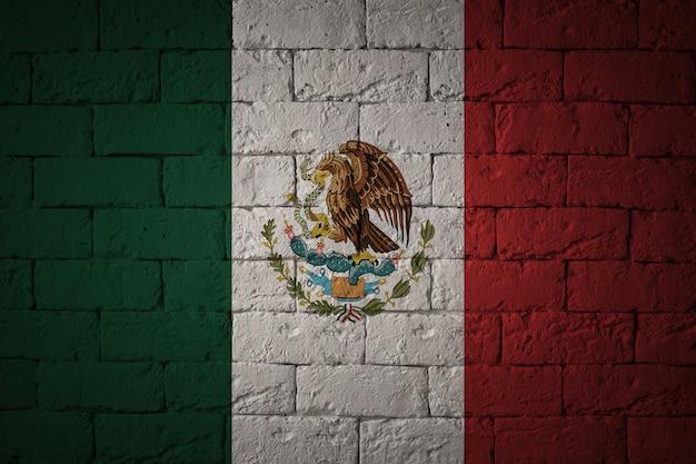 Bandera con proporciones originales. primer plano de la bandera del grunge de méxico