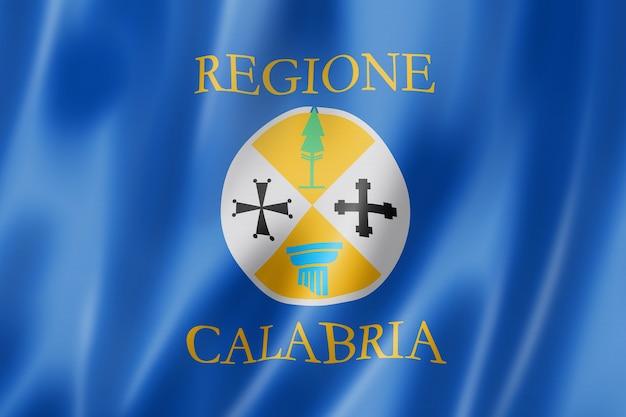 Bandera de la región de calabria, italia ondeando la colección de pancartas. ilustración 3d