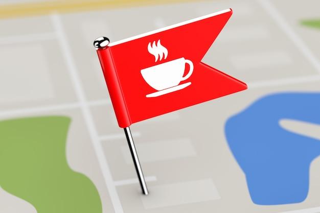 Bandera roja con icono de café en el fondo del mapa extreme closeup. representación 3d