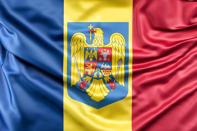 Bandera de rumania con el escudo de armas