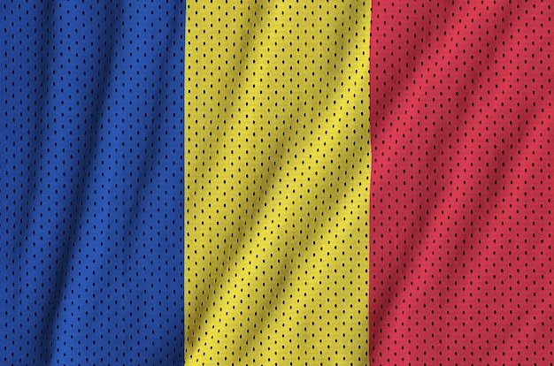 Bandera de rumania impresa en una tela de malla de poliéster deportiva de nylon