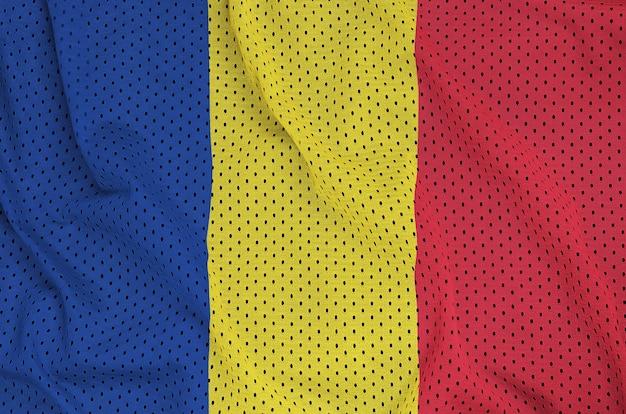 Bandera de rumania impresa en una tela de malla de poliéster y nylon