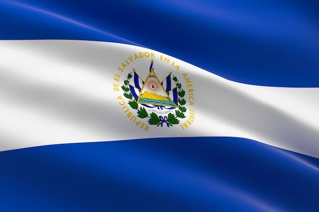 Bandera de el salvador. ilustración 3d de la bandera salvadoreña ondeando