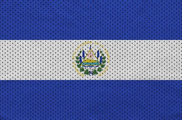 Bandera de el salvador impresa en una tela de malla deportiva de nylon y poliéster