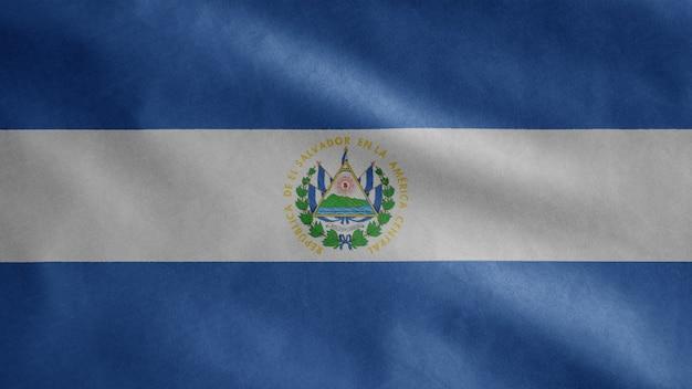 Bandera salvadoreña ondeando en el viento