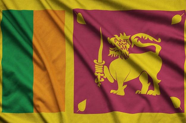 Bandera de sri lanka con muchos pliegues.