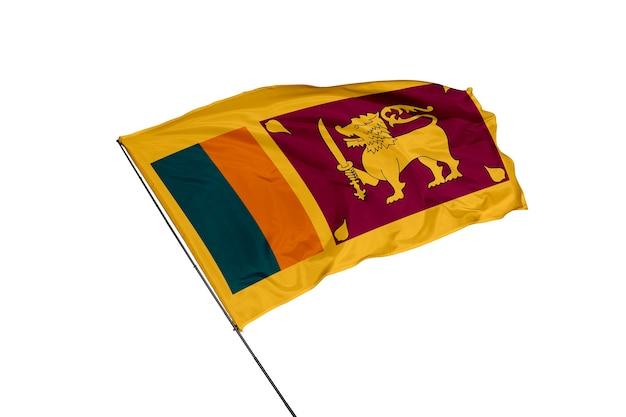 Bandera de sri lanka sobre un fondo blanco.