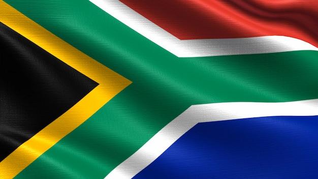 Bandera de sudáfrica, con textura de tejido ondulado.