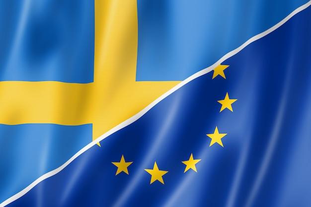 Bandera de suecia y europa