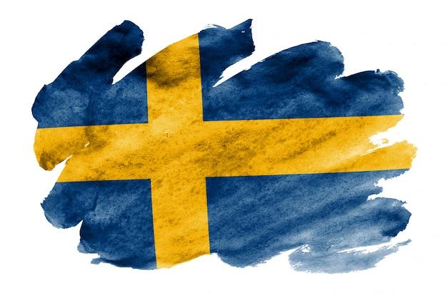 La bandera de suecia se representa en estilo acuarela líquida aislado en blanco