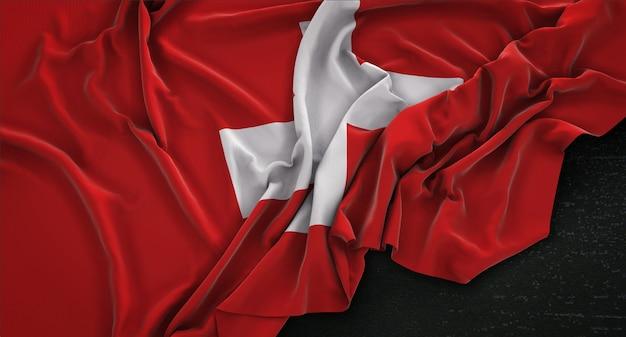 Bandera de suiza arrugado sobre fondo oscuro 3d render