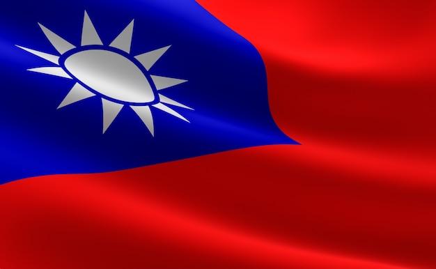 Bandera de taiwán. ilustración de la bandera taiwanesa ondeando.