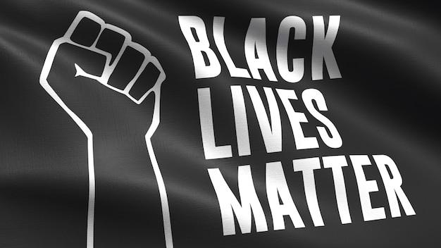 Bandera de tela de black lives matter, textura de tela que agita