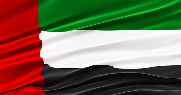 Bandera de tela que agita de los emiratos árabes unidos, bandera de seda de los emiratos árabes unidos.