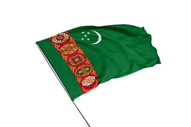 Bandera de turkmenistán sobre un fondo blanco.