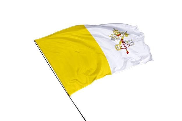 Bandera del vaticano sobre un fondo blanco.