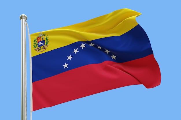 Bandera de venezuela en asta de la bandera ondeando en el viento aislado sobre fondo azul.