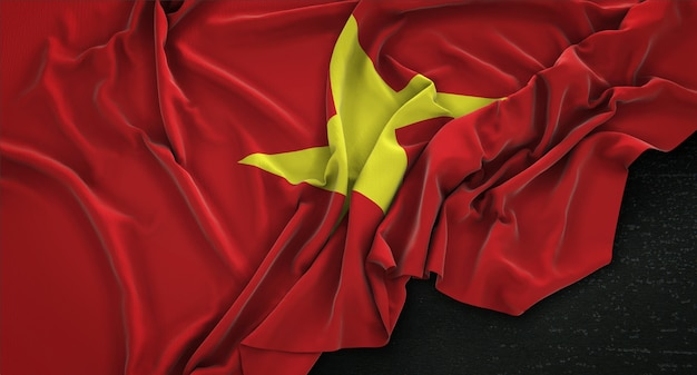 Bandera de vietnam arrugado sobre fondo oscuro 3d render