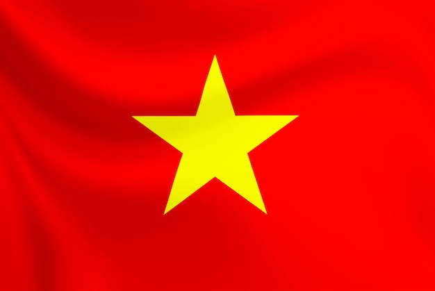 Bandera de vietnam ondeando en la tela de textura.