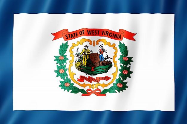 Bandera de virginia occidental, estados unidos. ilustración 3d del agitar de la bandera de virginia occidental.