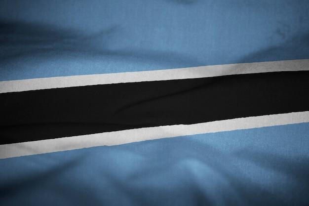 Bandera de volantes de botswana soplando en el viento