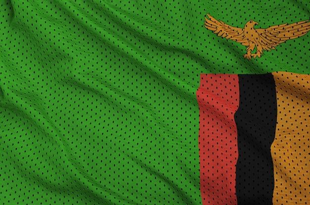 Bandera de zambia impresa en una tela de malla deportiva de nylon y poliéster