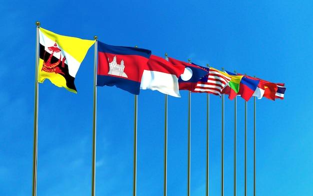 Banderas de la comunidad económica asean en el fondo del cielo azul