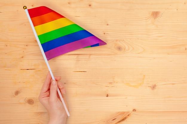 Banderas de la comunidad lgbt en una mano