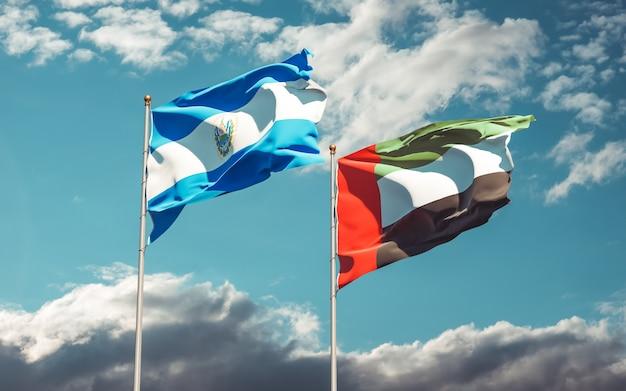 Banderas de emiratos árabes unidos y el salvador. ilustraciones 3d
