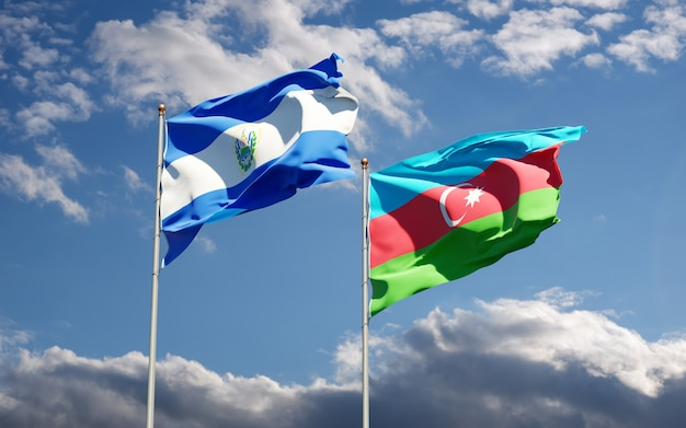 Banderas de los estados nacionales de azerbaiyán y el salvador