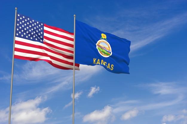 Banderas de estados unidos y kansas sobre fondo de cielo azul. ilustración 3d