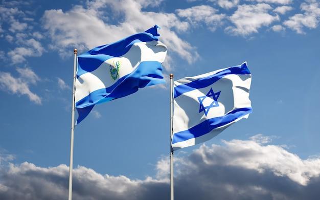 Banderas estatales de israel y el salvador juntos sobre fondo de cielo