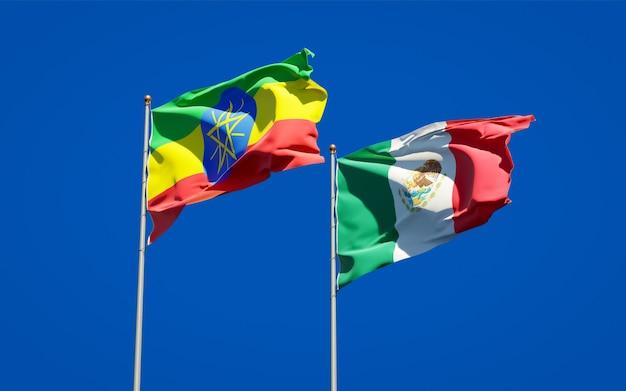 Banderas de etiopía y méxico. ilustraciones 3d
