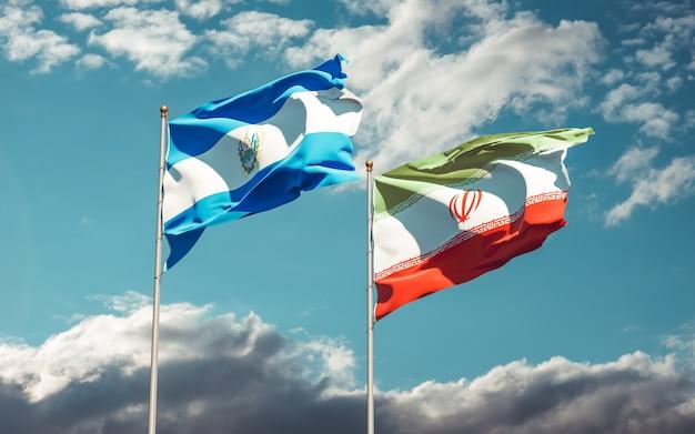 Banderas de irán y el salvador. ilustraciones 3d