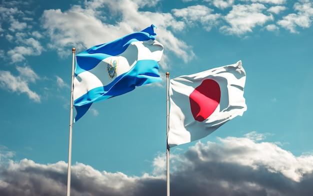 Banderas de japón y el salvador. ilustraciones 3d