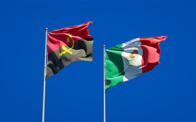 Banderas de méxico y angola. ilustraciones 3d
