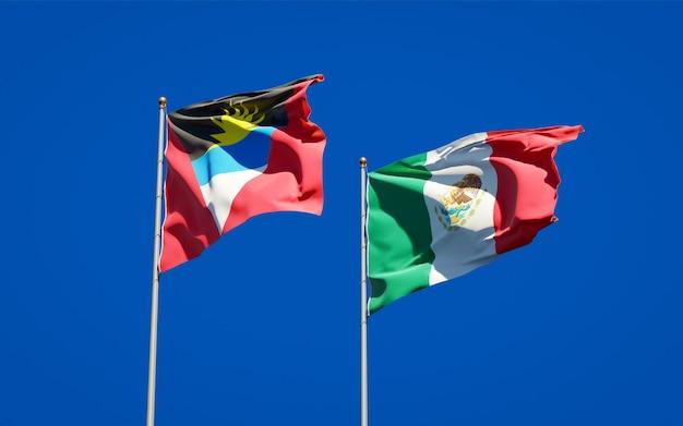 Banderas de méxico y antigua y barbuda. ilustraciones 3d