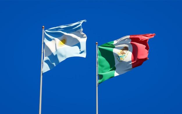 Banderas de méxico y argentina. ilustraciones 3d