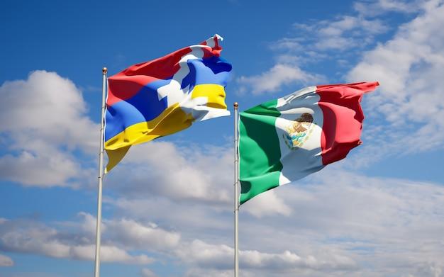 Banderas de méxico y artsakh. ilustraciones 3d