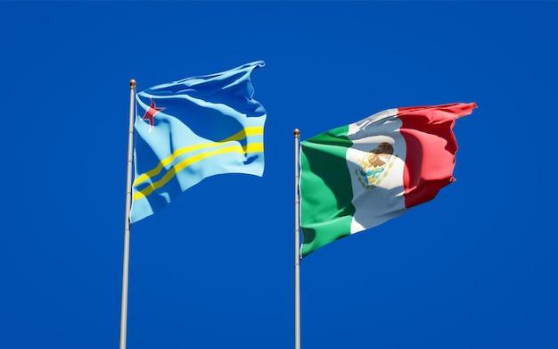 Banderas de méxico y aruba. ilustraciones 3d