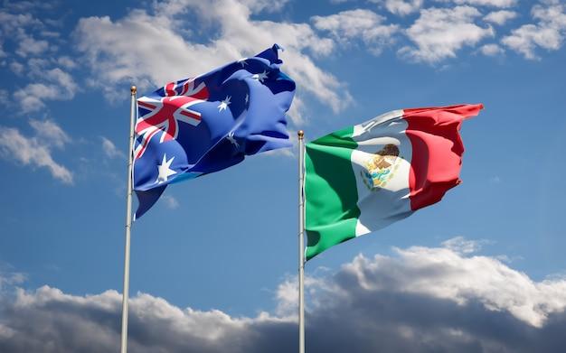 Banderas de méxico y australia. ilustraciones 3d