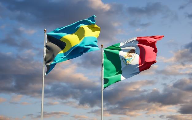 Banderas de méxico y bahamas. ilustraciones 3d