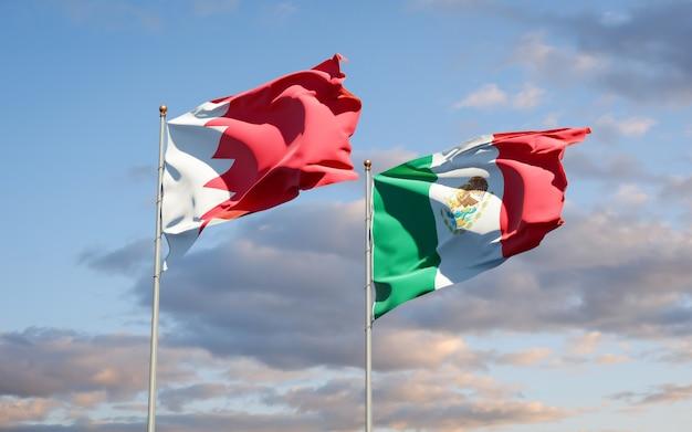 Banderas de méxico y bahrein. ilustraciones 3d