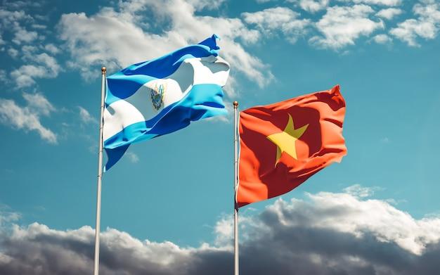 Banderas de vietnam y el salvador. ilustraciones 3d