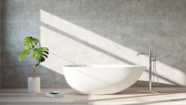 Bañera blanca de pie en un baño moderno. representación 3d .
