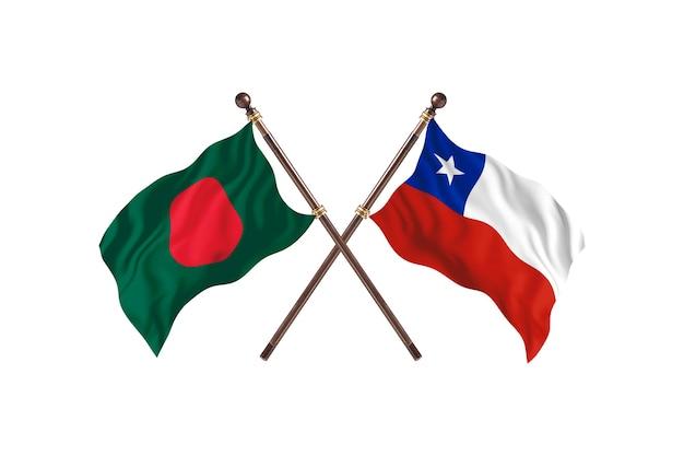 Bangladesh versus fondo de banderas de chile