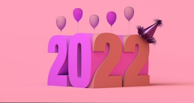 Banner abstracto del año 2022 con globos y sombreros de fiesta nochevieja copia espacio